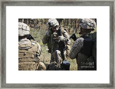 Marines Communicate With Other Elements Framed Print by Stocktrek Images