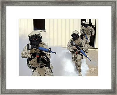 Marines Cross A Danger Area After Using Framed Print by Stocktrek Images