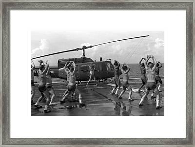 Marines Doing Jumping Jacks On The Deck Framed Print by Everett