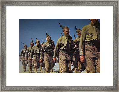 Marines Finishing Training At Parris Framed Print by Everett
