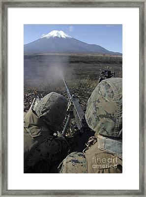 Marines Fire An M2 .50 Caliber Machine Framed Print