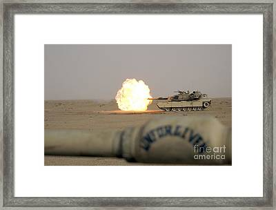 Marines Fire Their M1a1 Abrams Tank Framed Print by Stocktrek Images