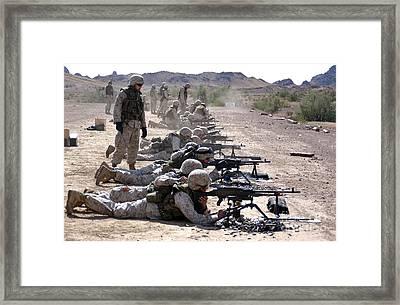 Marines Fire Their M240g Medium Machine Framed Print by Stocktrek Images