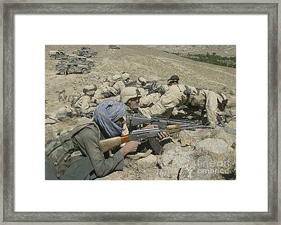 Marines Form A Skirmish Line While Framed Print