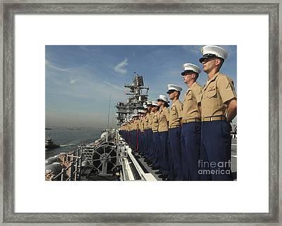 Marines Man The Rails Aboard Framed Print