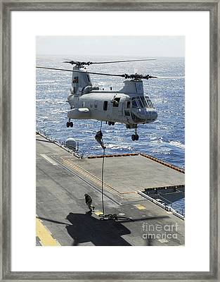 Marines Perform Fast-rope Training Framed Print