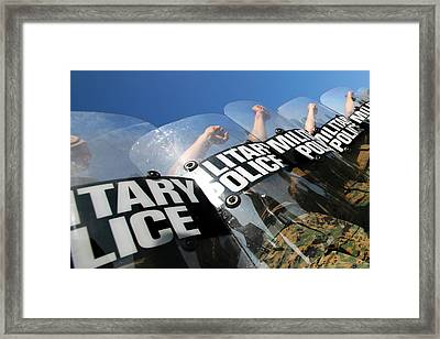 Marines Practice Riot Control Framed Print by Stocktrek Images