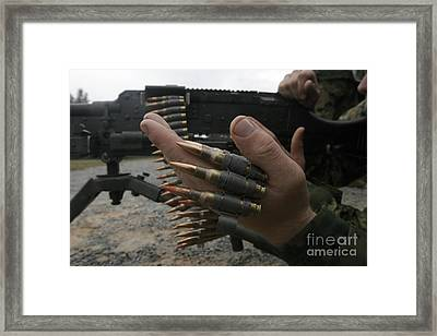 Marines Prepare The M-240g Medium Framed Print