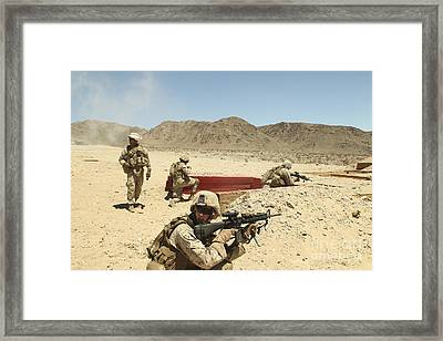 Marines Provide Supporting Fire Framed Print by Stocktrek Images