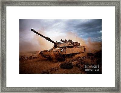 Marines Roll Down A Dirt Road Framed Print by Stocktrek Images