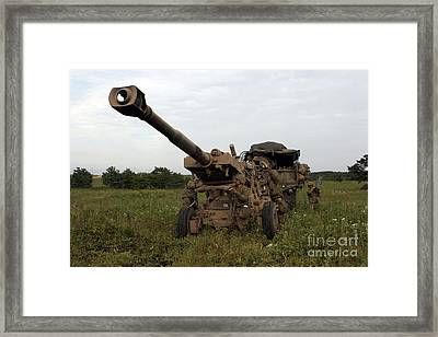 Marines Set Up A M198 155mm Howitzer Framed Print by Stocktrek Images