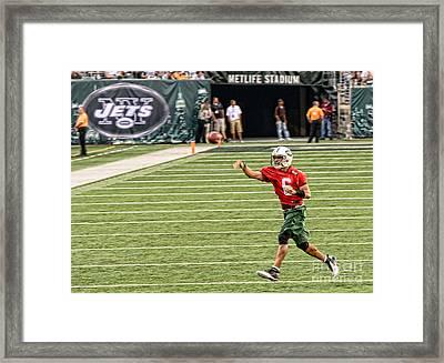 Mark Sanchez Ny Jets Quarterback Framed Print by Paul Ward