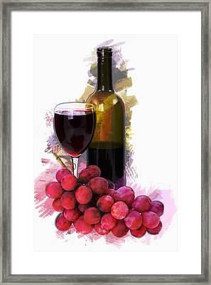 Marker Sketch Wine Glass Bottle And Grapes  Framed Print by Elaine Plesser
