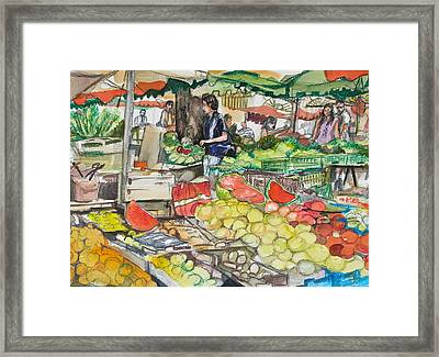 Market At Aix En Provence Framed Print by Laurel Fredericks
