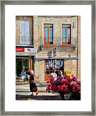 Market Cafe In Gascony Framed Print