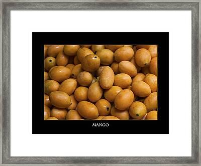 Market Mangoes Against Black Background Framed Print