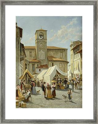 Marketday In Desanzano  Framed Print by Jacques Carabain
