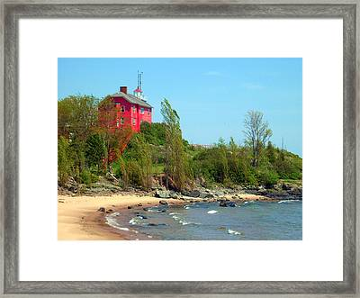 Framed Print featuring the photograph Marquette Harbor Lighthouse by Mark J Seefeldt
