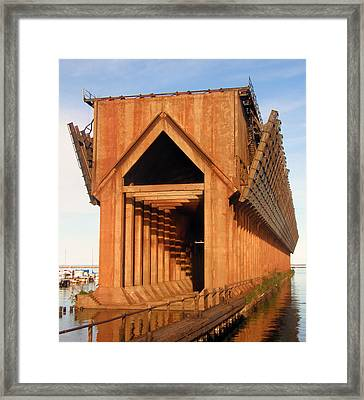 Framed Print featuring the photograph Marquette Ore Docks by Mark J Seefeldt