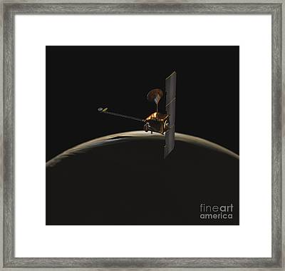 Mars Odyssey Spacecraft Over Martian Framed Print by Stocktrek Images