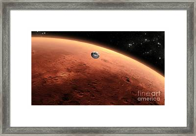 Mars Science Laboratory Approaching Mars Framed Print by NASA/Science Source