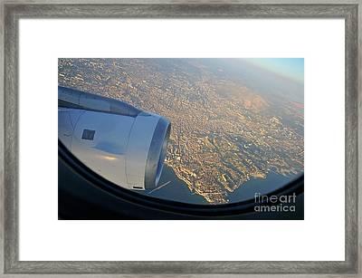 Marseille City From An Airplane Porthole Framed Print by Sami Sarkis