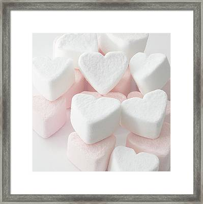 Marshmallow Love Hearts Framed Print by Kim Haddon Photography