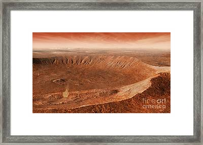 Martian Gullies In Noachis Terra, Mars Framed Print by Steven Hobbs