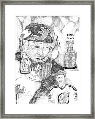 Martin Brodeur Sports Portrait Framed Print by Marty Rice