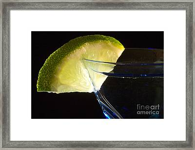 Martini Cocktail With Lime Wedge On Blue Glass Framed Print