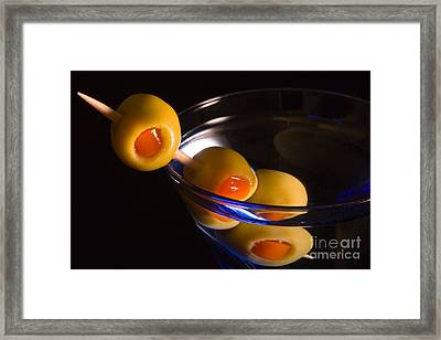Martini Cocktail With Olives In A Blue Glass Framed Print