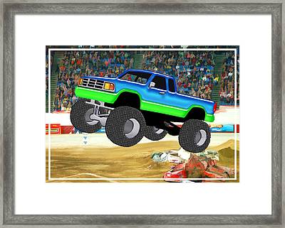 Marvelous Monster Truck In The Arena  Framed Print by Elaine Plesser