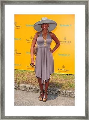 Mary J. Blige At A Public Appearance Framed Print