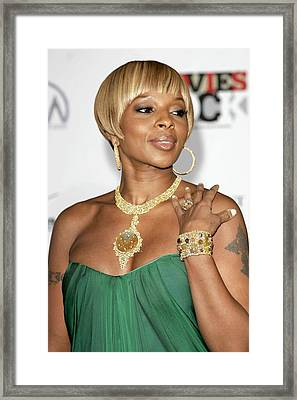 Mary J. Blige At Arrivals For Movies Framed Print by Everett