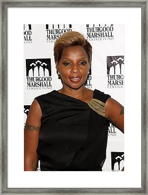 Mary J. Blige At Arrivals For Thurgood Framed Print by Everett