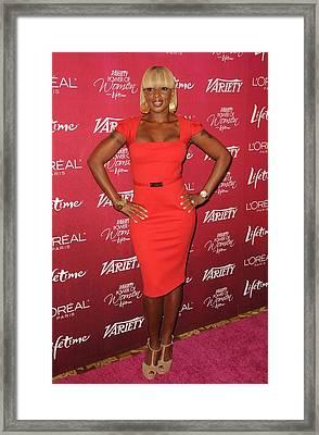 Mary J. Blige At Arrivals For Varietys Framed Print