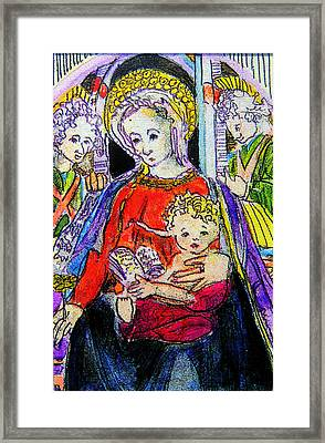Mary Jesus And The Saints Framed Print by Mindy Newman