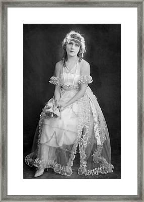 Mary Pickford In Her Wedding Dress, 1920 Framed Print by Everett