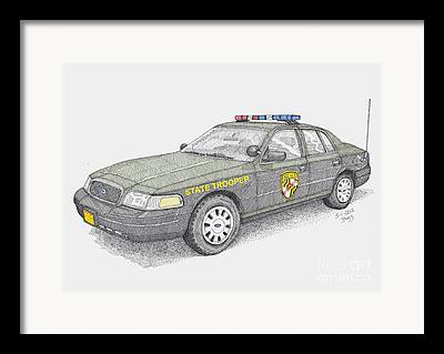 Police Cruiser Drawings Framed Prints