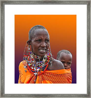 Masai Mother And Child Framed Print