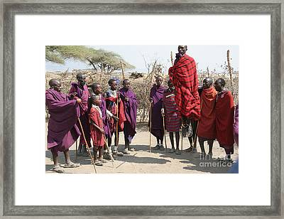Masai Warriors Jumping Framed Print by Scotts Scapes