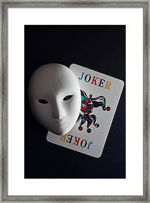 Mask And Joker Framed Print by Kantapong Phatichowwat