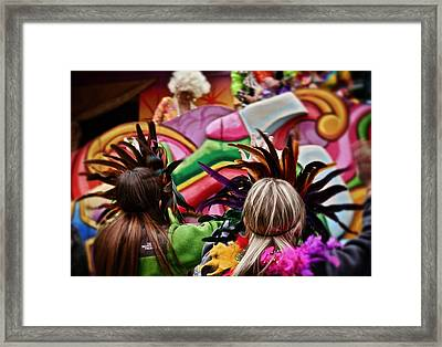 Framed Print featuring the photograph Masked Mardi Gras Women by Jim Albritton