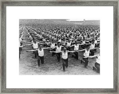 Mass Gymnastics Framed Print by Archive Photos