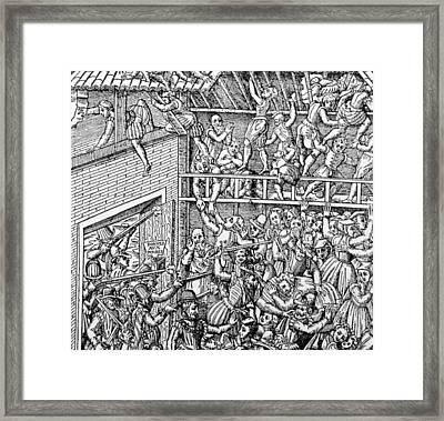 Massacre Of A Huguenot Congregation Framed Print by Everett