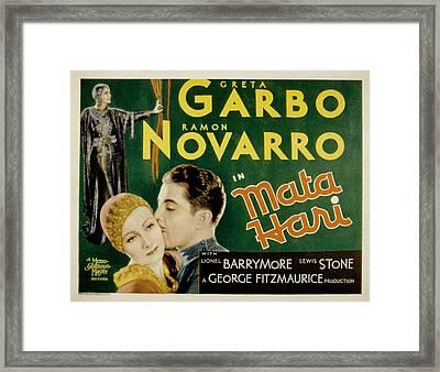 Mata Hari, Greta Garbo, Ramon Navarro Framed Print by Everett