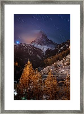 Matterhorn With Star Trail Framed Print by Coolbiere Photograph
