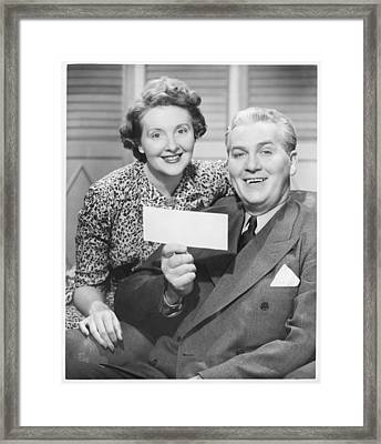 Mature Couple Posing, Man Holding Check, (b&w), Portrait Framed Print by George Marks
