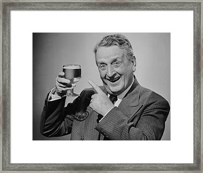 Mature Man W/glass Of Beer Framed Print by George Marks