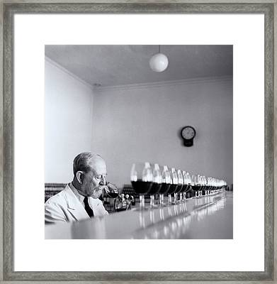 Mature Wine Tester With Row Of Glasses (b&w) Framed Print